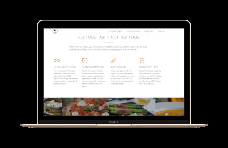 Virtual food company website